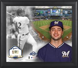 "Ryan Braun Milwaukee Brewers Framed 15"" x 17"" Mosaic Collage with Game-Used Baseball-Limited Edition of 99"