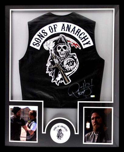 "Ryan Hurst Signed Officially Licensed Sons Of Anarchy Framed Black Biker Vest With ""Opie"" Inscription"
