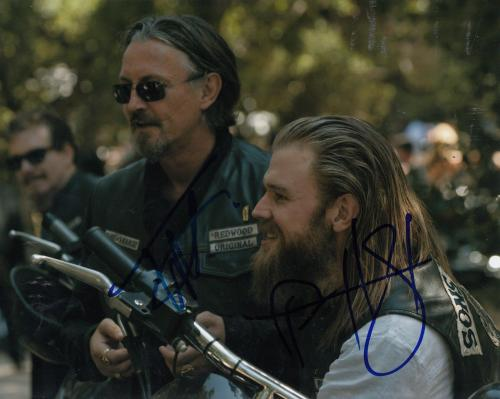 RYAN HURST & TOMMY FLANAGAN signed *SONS OF ANARCHY* SOA 8X10 photo W/COA OPIE