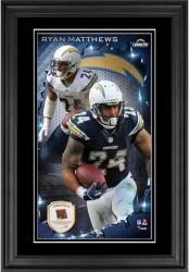 Ryan Mathews San Diego Chargers 10'' x 18'' Vertical Framed Photograph with Piece of Game-Used Football - Limited Edition of 250
