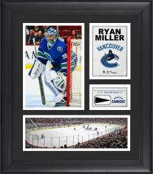 """Ryan Miller Vancouver Canucks Framed 15"""" x 17"""" Collage with Piece of Game-Used Puck"""