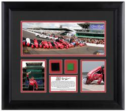 Ryan Newman 2013 Brickyard 400 Race Winner Framed 3-Photograph Collage with Race-Used Tire & Flag - Mounted Memories