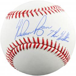 Nolan Ryan Autographed Baseball with 7 No-Hitters Inscription - Mounted Memories