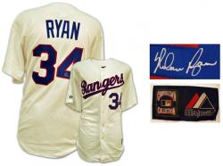 Majestic Cooperstown Collection Nolan Ryan Texas Rangers Autographed Jersey - White - Mounted Memories
