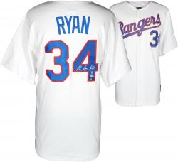 Nolan Ryan Texas Rangers Autographed 1993 Majestic Style Authentic Throwback White Jersey with HOF 99 Inscription - Mounted Memories