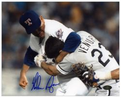 Nolan Ryan Texas Rangers Autographed 8'' x 10'' Robin Ventura Fight Photograph - Mounted Memories