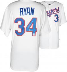 Nolan Ryan Texas Rangers Autographed 1993 Majestic Style Authentic Throwback White Jersey with The Ryan Express Inscription - Mounted Memories