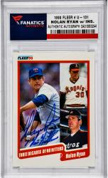 Nolan Ryan Texas Rangers Autographed 1990 Fleer #U-131 Card with 7 No Hitters Inscription - Mounted Memories