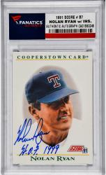 Nolan Ryan Texas Rangers Autographed 1991 Score #B7 Card with HOF 1999 Inscription - Mounted Memories