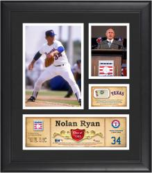 Nolan Ryan Texas Rangers Framed 15'' x 17'' HOF Collage with Piece of Game-Used Ball - Mounted Memories