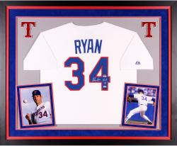 "Nolan Ryan Autographed Rangers Authentic Jersey with ""HOF 99"" Inscription - Deluxe Framed"