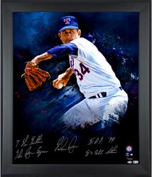 Nolan Ryan Texas Rangers Framed Autographed 20'' x 24'' In Focus Photograph with Multiple Inscriptions-#1 of Limited Edition 24 - Mounted Memories