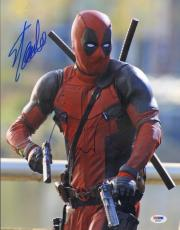 RYAN REYNOLDS & STAN LEE Signed Autographed DEADPOOL 11x14 Photo PSA/DNA AB46872