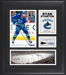 """Ryan Stanton Vancouver Canucks Framed 15"""" x 17"""" Collage with Piece of Game-Used Puck"""