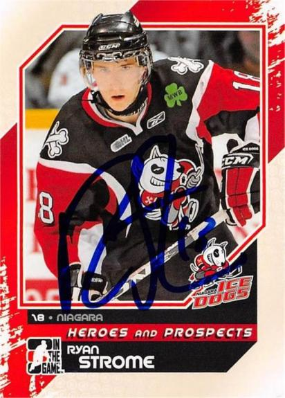 Ryan Strome autographed hockey card rookie (Niagara Icedogs SC now with New York Rangers) 2011 In The Game Heroes Prospects #169