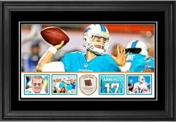 "Ryan Tannehill Miami Dolphins Framed 10"" x 18""  Panoramic with Piece of Game-Used Football - Limited Edition of 250"