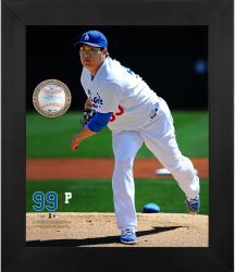 "Hyun-Jin Ryu Los Angeles Dodgers Framed 20"" x 24"" Gamebreaker Photograph with Game-Used Ball"