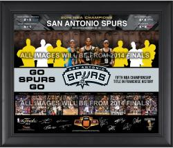 San Antonio Spurs 2014 NBA Finals Champions Road to the Finals Framed Collage with Facsimile Signatures and NBA Finals Basketball-Limited Edition of 250