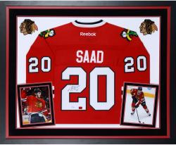 Brandon Saad Autographed Blackhawks Premier Jersey - Deluxe Framed