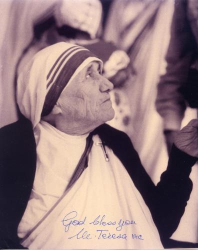 Saint Mother Teresa Hand Signed Autographed 8x10 Bw Photo Stunning!!
