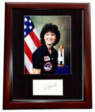Sally Ride Signed - Autographed NASA Astronaut- 1st Women in Space Index Card Matted with Photo - MAHOGANY CUSTOM FRAME - Deceased 2012 - Guaranteed to pass PSA/DNA or JSA