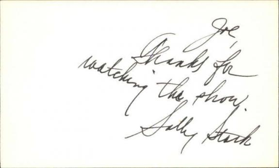 """SALLY STARK DAYS OF OUR LIVES Signed 3""""x5"""" Index Card"""