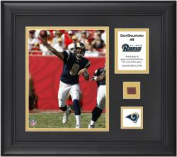 Sam Bradford St. Louis Rams Framed 8'' x 10'' Photograph with Game-Used Football Piece and Descriptive Plate-Limited Edition of 500 - Mounted Memories