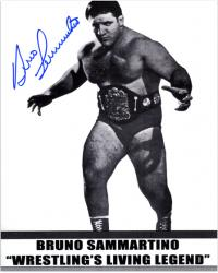 Bruno Sammartino Autographed 8'' x 10'' Wrestling Living Legend Photograph - Mounted Memories