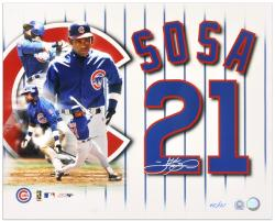 Sammy Sosa Chicago Cubs Autographed 16'' x 20'' Photograph Collage-Limited Edition of 121 - Mounted Memories