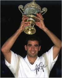 Pete Sampras Autographed 8'' x 10'' Holding Trophy Over Head Photograph