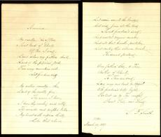 "Samuel Francis Smith Signed 2 Page 5x8 Lyrics To ""My Country Tis, of Thee"" BAS"