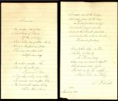 """Samuel Francis Smith Signed 2 Page 5x8 Lyrics To """"My Country Tis, of Thee"""" BAS"""