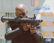"""Samuel L. Jackson Autographed 8"""" x 10"""" Avengers Holding Gun Photograph - Beckett COA"""