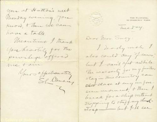 """Samuel L. """"mark Twain"""" Clemens - Autograph Letter Signed"""