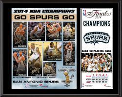 """San Antonio Spurs 2014 NBA Finals Champions Sublimated 12"""" x 15"""" Plaque"""