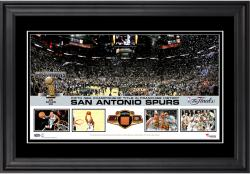 San Antonio Spurs 2014 NBA Finals Champions Framed AT&T Center Panoramic with Team-Used Basketball-Limited Edition of 250