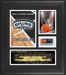"San Antonio Spurs Team Logo Framed 15"" x 17"" Collage with Team-Used Baseketball"