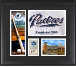 """San Diego Padres Team Logo Framed 15"""" x 17"""" Collage with Piece of Game-Used Ball"""