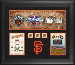"San Francisco Giants Framed Three World Series Titles in Five Years 20"" x 24"" Collage with Game-Used Dirt from 2010, 2012 and 2014 World Series"