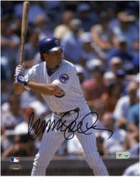 Ryne Sandberg Chicago Cubs Autographed 8'' x 10'' Close Up At Bat Photograph - Mounted Memories