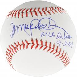 Ryne Sandberg Chicago Cubs Autographed Baseball with MLB Debut 9/2/81 Inscription