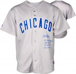 Ryne Sandberg Chicago Cubs Autographed Gray Replica Jersey with Multiple Inscription - Mounted Memories