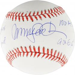 Ryne Sandberg Chicago Cubs Autographed Baseball with Multiple Inscription