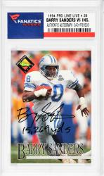 Barry Sanders Detroit Lions Autographed 1994 Pro Line Live #38 Card with 15,269 YDS. Inscription - Mounted Memories  - Mounted Memories