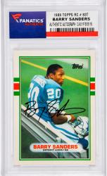 Barry Sanders Detroit Lions Autographed 1989 Topps #83T Rookie Card  - Mounted Memories