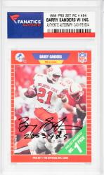 Barry Sanders Detroit Lions Autographed 1989 Pro Set #494 Rookie Card with 2,053 YDS. Inscription - Mounted Memories