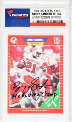 Barry Sanders Autographed 1989 P.S. #494 Card with 4 X Rushing Champ Inscription