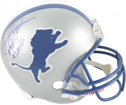 Barry Sanders Detroit Lions Autographed Riddell Replica Helmet with 89 ROY/97 MVP Inscription - Mounted Memories