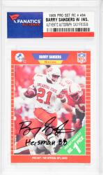 Barry Sanders Detroit Lions Autographed 1989 Pro Set #494 Rookie Card with Heisman 88 Inscription - Mounted Memories