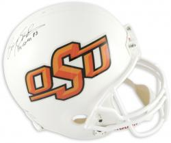 Barry Sanders Oklahoma State Cowboys Riddell Replica Autographed Helmet with Heisman '88 Inscription - Mounted Memories